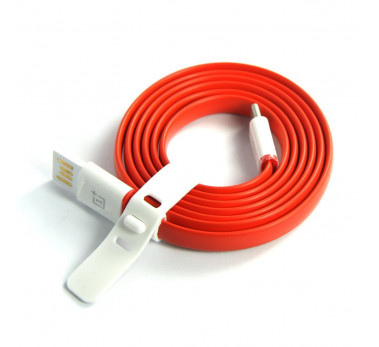 CHARGEUR USB TYPE C ★ CABLE PLAT 1METRE ROUGE DATA CHARGER ★ ONEPLUS TWO