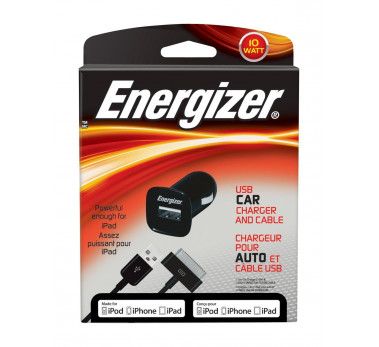 ENERGIZER - Chargeur Voiture Noir 10W 2.1A + Cable USB 30 Pins MFI (Iphone Ipad)