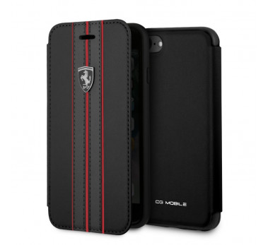 HOUSSE COQUE ETUI FOLIO ★ FERRARI ORIGINAL ★ IPHONE 6 6S 7 8 ★ NOIR