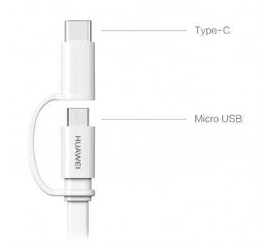 CABLE USB COMBO 2 en 1 MICRO USB & TYPE-C - HUAWEI ORIGINAL -  1M50 -  BLISTER